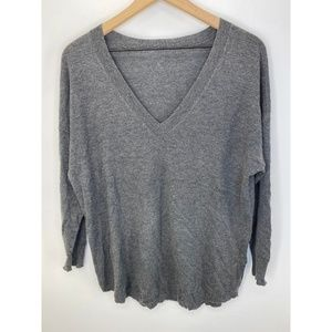 Joie V Neck Long Sleeve Solid Sweater Gray